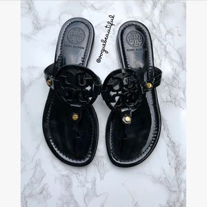 Tory Burch Patent Leather Miller Sandals Black